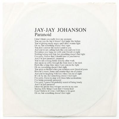 """Johanson, Jay-Jay - Paranoid (12"""")"""